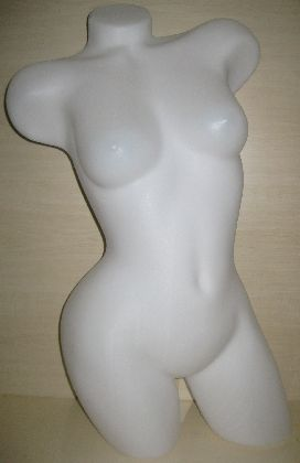 Plast.torzo 3/4 tela,dámske,zakrivené,priesv.biela