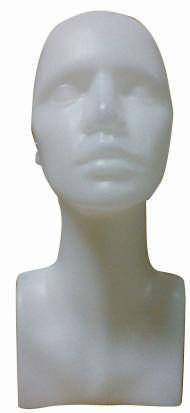 Plastová hlava dámska, biela farba