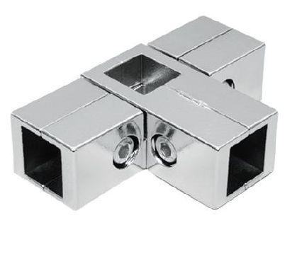 Verchromter äußerer Fünfwegeverbinder für Vierkantrohr 25x25mm