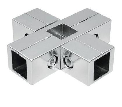Verchromter äußerer Sechswegeverbinder für Vierkantrohr 25x25mm
