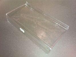 Akrylové polička hranatá s ohybom na cenovky 23x10cm