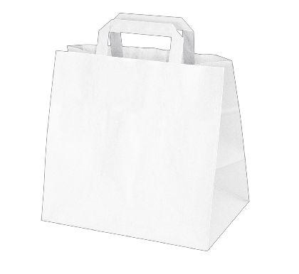 Papierová taška z kraftového papieru,bilá,ploché držadlá,rozmery(Š+H*V):26+17*25CM.