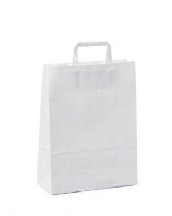 Papierová taška z kraftového papieru,bilá,ploché držadlá,rozmery(Š+H*V):32+16*44CM.