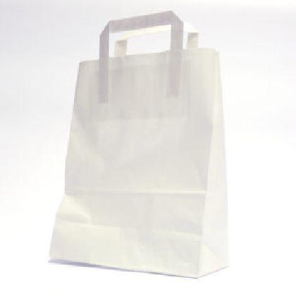 Papierová taška z kraftového papieru,bilá,ploché držadlá,rozmery(Š+H*V):32+22*24CM.