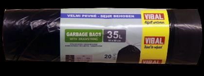 Odpad. pytle zatahovací 35l,černá,50x60cm,20ksx50r