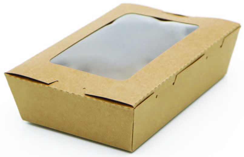 Krabička s oknem 700ml, 170x118x45mm, kraft hnědá,50ks/bal,4bal/kar