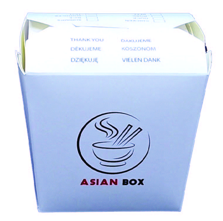 Box na rezance hranatý biely s Asia 750ml,50ks/bal,9bal/kar