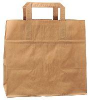 Papierová taška z kraftového papieru,hnedá,ploché držadlá,rozmery(Š+H*V):28+17*28cm,50ks/bal