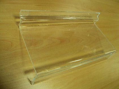 Akrylové polička hranatá s ohybom na cenovky 25x10cm