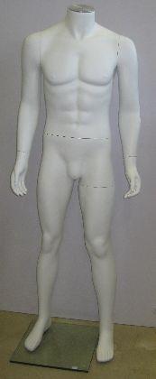 Pánska figurína bielej farby, bez hlavy